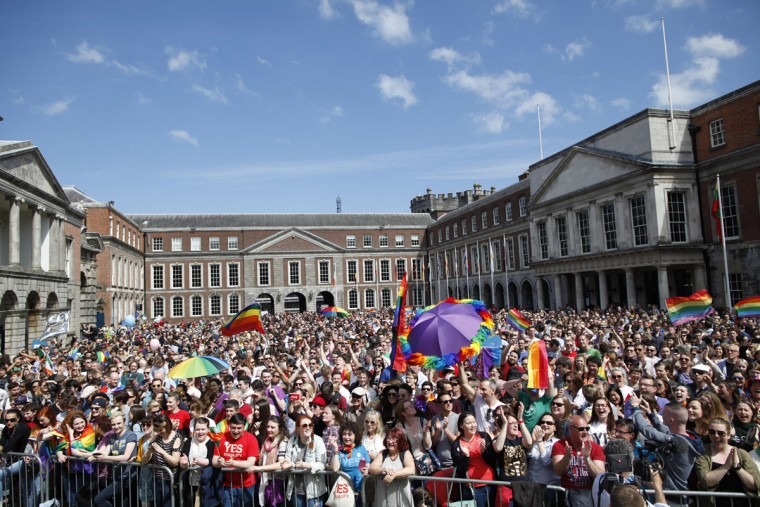 "Yes supporters wait for the final result in the Irish referendum at Dublin Castle, Ireland, Saturday, May 23, 2015. Ireland has voted resoundingly to legalize gay marriage in the world's first national vote on the issue, leaders on both sides of the Irish referendum declared Saturday even as official ballot counting continued. Senior figures from the ""no"" campaign, who sought to prevent Ireland's constitution from being amended to permit same-sex marriages, say the only question is how large the ""yes"" side's margin of victory will be from Friday's vote. (AP Photo/Peter Morrison)"