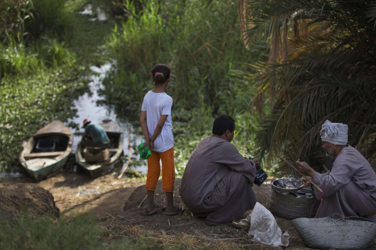 In this Sunday, April 12, 2015 photo, Salama Osman buys fish from a fisherman as his daughter Zainab watches another returning with his catch, in a branch of the Nile River near Abu al-Nasr, about 770 kilometers (480 miles) south of Cairo. Osman, 46, is on one of his two trips a year back home where he can relax with his family, a rare respite from his hectic job back in the always-bustling Egyptian capital. (AP Photo/Hiro Komae)