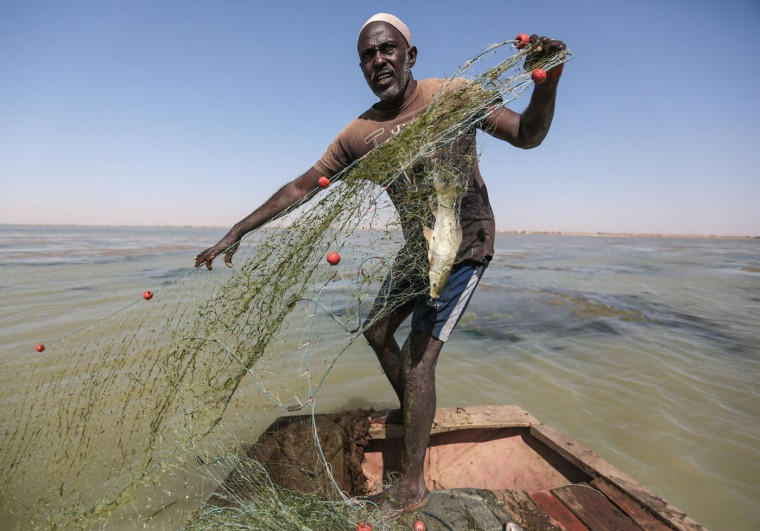 In this Wednesday, April 15, 2015 photo, a Sudanese fisherman gathers his net while fishing in the Nile River on the outskirts of Khartoum, Sudan. (AP Photo/Mosa'ab Elshamy)