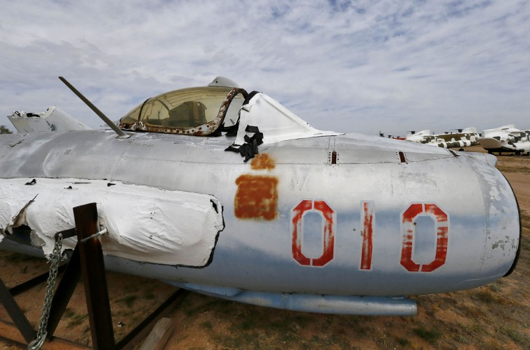 A Polish LiM, a licensed copy of a Soviet MiG 17, is stored at the 309th Aerospace Maintenance and Regeneration Group boneyard, Thursday, May 21, 2015, in Tucson, Ariz. The fighter jet belongs to the National Museum of the USAF located at Wright-Patterson AFB, Dayton Ohio. (AP Photo/Matt York)