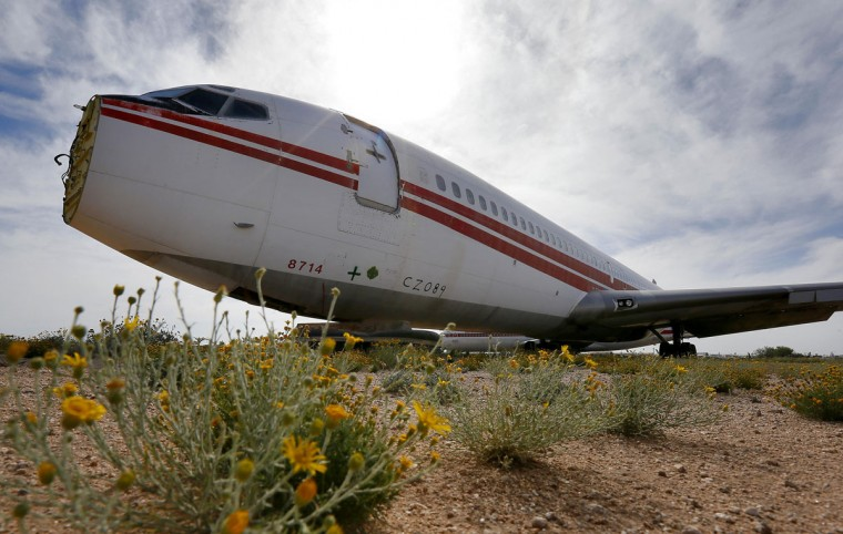 One of the few civilian aircraft on site, a Boeing 707, serial no.TWA N28714, sits in the aircraft battle damage repair area at the 309th Aerospace Maintenance and Regeneration Group boneyard, Thursday, May 14, 2015 at Davis-Monthan Air Force Base in Tucson, Ariz. On August 29, 1969, members of the Popular Front for the Liberation of Palestine (PFLP), including former Palestinian National Council member Leila Khaled, hijacked the aircraft, call sign TWA 840, believing that then-Israeli ambassador to the United States Yitzhak Rabin was aboard. When discovered he was not on the aircraft, the hijackers flew to Syria and released all but 2 Israeli passengers. The hijackers proceeded to explode a bomb in the cockpit after the hostages had disembarked. Extensive repairs put the aircraft back into serve until 1980. (AP Photo/Matt York)