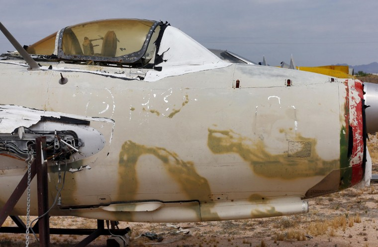A Polish LiM 2, a licensed copy of Soviet MiG 15, is stored at the 309th Aerospace Maintenance and Regeneration Group boneyard, Thursday, May 21, 2015, in Tucson, Ariz. The fighter jet belongs to the National Museum of the USAF located at Wright-Patterson AFB, Dayton Ohio. (AP Photo/Matt York)