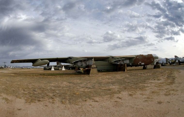 "The 39th and final B-52G Stratofortress, tail number 58-0224, accountable under the New START Treaty (Strategic Arms Reduction Treaty) with Russia, is shown at the 309th Aerospace Maintenance and Regeneration Group boneyard Thursday, May 21, 2015 at Davis-Monthan Air Force Base in Tucson, Ariz. The United States cut the tails off 39 B-52G's in order to remove them from treaty accountability, as they still count as nuclear-capable delivery platforms with their tails attached. The tails are angled at 30 degrees so Russian satellites can view compliance. Tail number 58-0224, nicknamed ""Sweet Tracy"", flew combat missions over North Vietnam in Operation Linebacker II, which began Dec. 18, 1972 and lasted 11 nights. This particular B-52G, 58-0224, targeted the Yen Vien Railroad Yards and the Hanoi Railroad Repair Yards. At the time, bomber was stationed in Guam. (AP Photo/Matt York)"