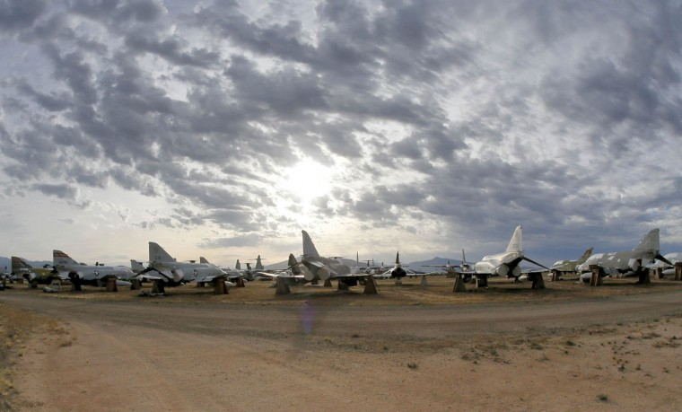 A field of F-4 Phantoms are stored at the 309th Aerospace Maintenance and Regeneration Group boneyard, Thursday, May 21, 2015, in Tucson, Ariz. The 309th is the United States Air Forceís aircraft and missile storage and maintenance facility and provides long and short-term aircraft storage, parts reclamation and disposal. (AP Photo/Matt York)