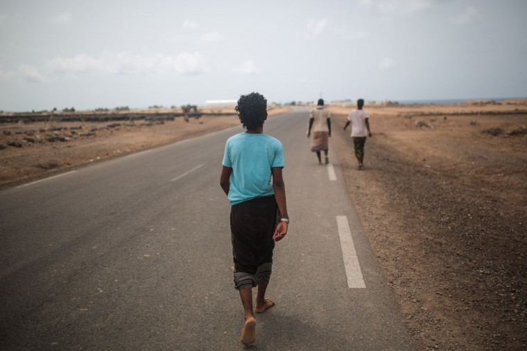 Yemeni refugee trek from their camp to the center of Obock city, northern Djibouti. The UNHCR says a total of 5,000 Yemeni refugees have made it to Djibouti, including 3,000 in the capital, Djibouti city, and 1,000 in Obock, 300 kilometers (187 miles) to the north making it currently the biggest Yemeni refugee population. (AP Photo/Mosa'ab Elshamy)