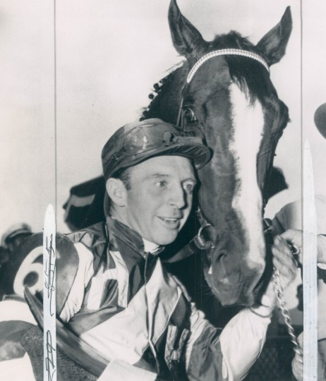 Jockey John Adams and Hasty Road are really buddies after winning the Preakness on May 23, 1954. Hasty Road was second in the Kentucky Derby, but edged out Correlation to take the race for the Black Eyed Susans. (AP Wirephoto)
