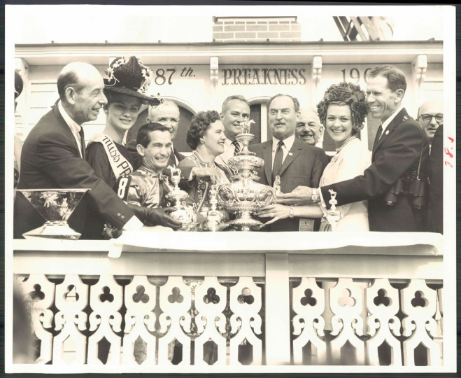 Lou Pondfield, Miss Preakness Ann Smith, Willie Shoemaker, Mesh Tenney, Mrs Rex Ellsworth, Senator Brewster, J Samuel Pearlman, Senator Beall, Mrs Shoemaker, Rex Ellsworth. (Edward Nolan/Baltimore Sun, 1963)