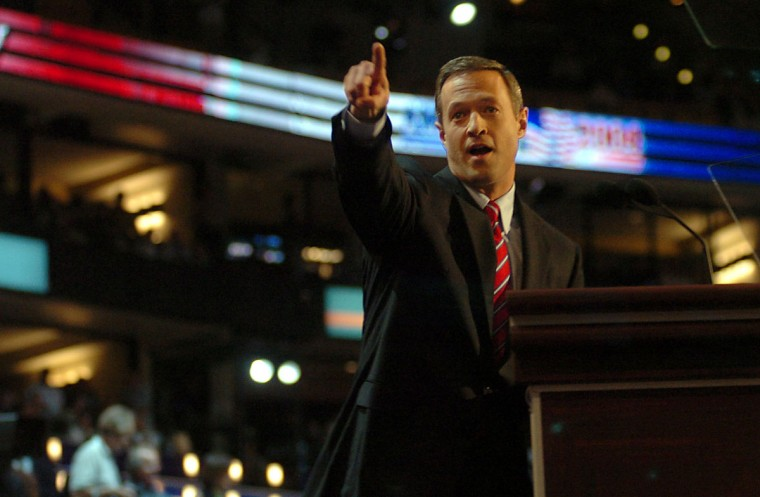 Mayor Martin O'Malley addresses the audience at the Fleet Center for the 2004 democratic National Convention. Monica Lopossay, Baltimore Sun