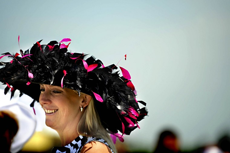 Jolene Chelden of Baltimore gracefully sported a hat she got at the Gold Cup in Virginia during the 133 Preakness. (Monica Lopossay/Baltimore Sun)