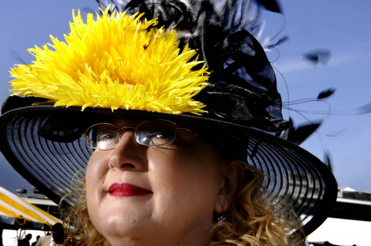 Karen Bryant of Charlestown Indiana proudly models her Preakness hat during the 133 Preakness. (Monica Lopossay/Baltimore Sun)