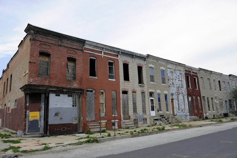 May 5, 2014: This is a row of buildings on part of the 500 block of Baker Street. (Barbara Haddock Taylor/Baltimore Sun)