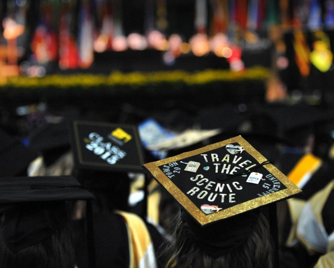THE JOURNEY CONTINUES... - On Commencement Day, Towson University graduates express their creativity by decorating their mortarboards with thoughts, musings, and thanks to parents, friends, the Almighty, and even coffee. (Algerina Perna/Baltimore Sun)