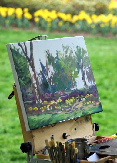 This work-in-progress painting by Debra Moffitt of Halethorpe captures her vision of Sherwood Gardens. (Algerina Perna/Baltimore Sun)