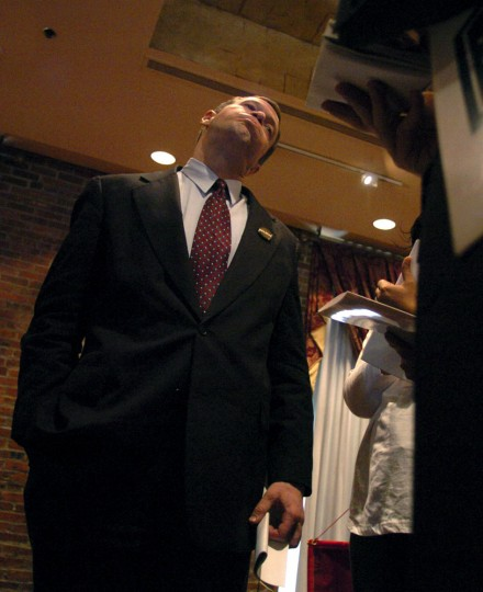 Mayor Martin O'Malley tries to answer question from reporters after the press conference dealing with the 2004 budget. During a press conference at the Lowes Annapolis Hotel, Mayor Martin O'Malley spoke along with the other Maryland Mayors on Governor Ehrlich's 2004 budget. Monica Lopossay, Baltimore Sun