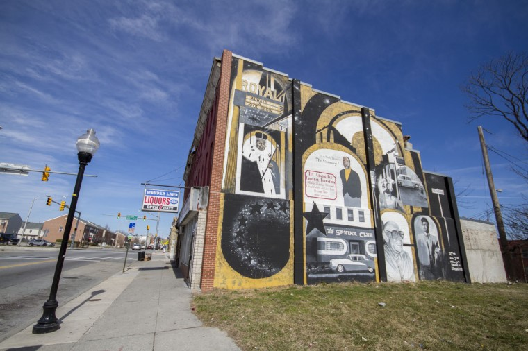 3/2015: The mural outside of the one-time Sphinx Club at the western edge of the neighborhood. (Kalani Gordon/Baltimore Sun)