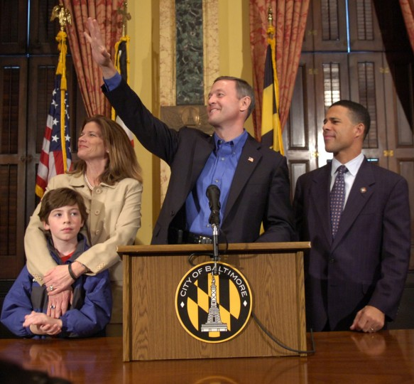 Governor - elect Martin O'Malley, Lieutenant Governor - elect Anthony Brown (R), Katie O'Malley and their son William appear before the media and city hall workers Wednesday afternoon in Baltimore. (Doug Kapustin Baltimore Sun Staff)