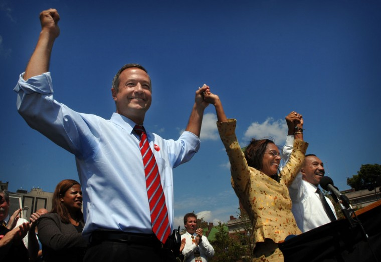 Gov. O'Malley, Mayor Dixon, and Kweisi Mfume greet supporters.ÖMayor Sheila Dixon holds a rally at War Memorial Plaza to announce endorsements by Gov. Martin O'Malley and Former NAACP Chair Kweisi Mfume. Andre F. Chung, Staff