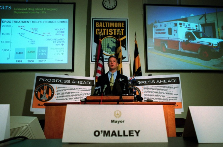 Mayor Martin O'Malley holds a press conference to talk about his accomplishments during the first two years of his term. Andre F. Chung, Staff