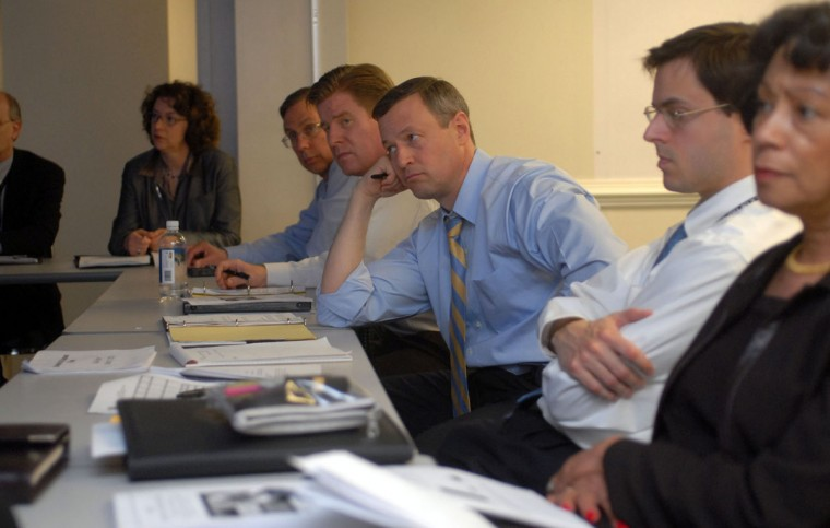 State Stat meeting between Governor Martin O'Malley and some of his advisors in 2007. Starting from right side: Eloise Foster, Secretary of Budget and Management; Matthew Gallager, Deputy Chief of Staff, Governor Martin O'Malley, Michael Enright, Chief of Staff, Ralph Tyler. Barbara Haddock Taylor, staff