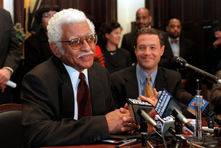 At a press conference this morning, Mayor Martin O'Malley (right) announced his selection of George L. Winfield (left) as the city's next public works director. Staff Photo/Lloyd Fox.