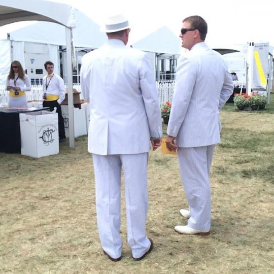 Surest sign of spring in Baltimore at Preakness 2015: seersucker suits. (Jean Marbella/Baltimore Sun)