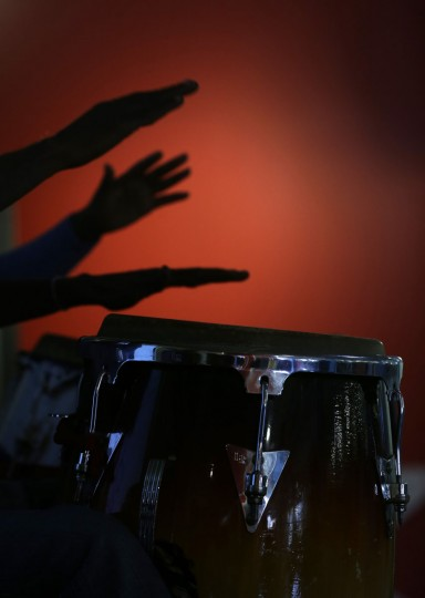 Drummers perform during a ribbon cutting ceremony for the Little Haiti Visitor Center at the Caribbean Market place Monday, May 18, 2015, in the Little Haiti Neighborhood of Miami. (AP Photo/Wilfredo Lee)
