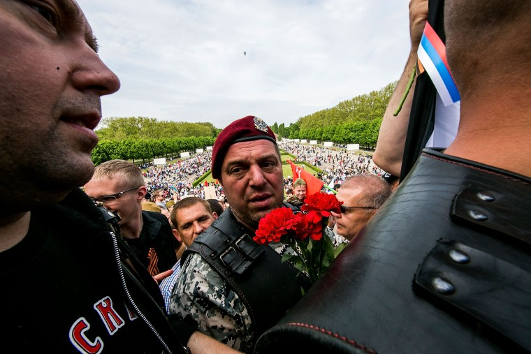 Men, including some who belong to the pro-Vladimir Putin Night Wolves biker club from Moscow, arrive in Berlin to pay tribute to Soviet soldiers killed during World War II at the Soviet war memorial. Victory Day, which in Russia is celebrated at the day World War II ended, in Treptow Park on May 9, 2015 in Berlin, Germany. A much larger group of Night Wolves had originally declared their intent to bike from Moscow to Berlin through Poland and the Czech Republic, though Poland refused them entry and Germany refused to grant many a visa. The war in Europe officially ended with the surrender of German troops on all fronts that went into effect at 11:01pm, CET, on May 8, 1945. Tens of thousands of Soviet soldiers, as well as even more German soldiers and civilians, were killed in the final push to Berlin in April, 1945. (Carsten Koall/Getty Images)
