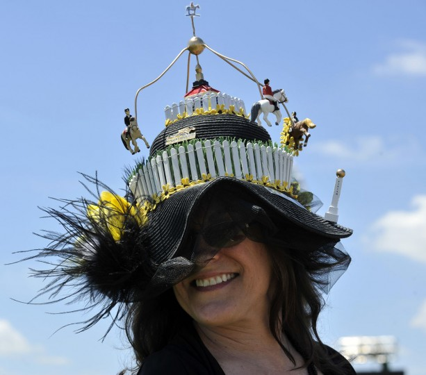 Kelly Jones of Jarretsville shows off her homemade hat. (Lloyd Fox/Baltimore Sun)