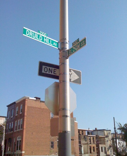 in 2010, a typo at Druid Hill Avenue and Bloom Street. (Liz Kay / Baltimore Sun Staff Reporter)