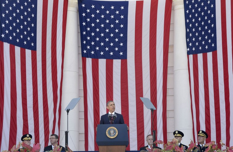 U.S. President Barack Obama speaks during a Memorial Day event at Arlington National Cemetery on Monday, May 25, 2015, in Arlington, Va. (Olivier Douliery/Abaca Press/TNS)