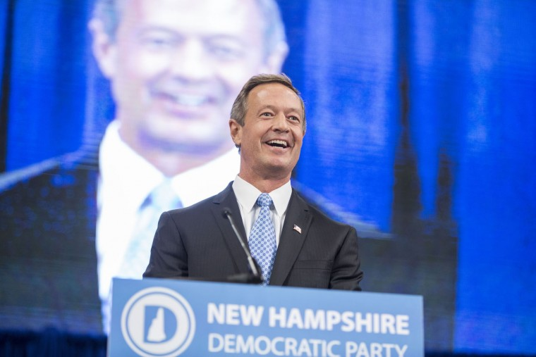 Democratic presidential candidate and former Maryland Governor Martin O'Malley talks on stage during the New Hampshire Democratic Party State Convention on September 19, 2015 in Manchester, New Hampshire. Five Democratic presidential candidates are all expected to address the crowd inside the Verizon Wireless Arena. (Scott Eisen/Getty Images)