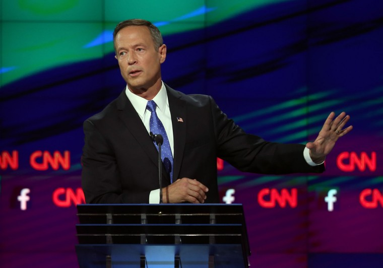 Democratic presidential candidate Martin O'Malley takes part in a presidential debate sponsored by CNN and Facebook at Wynn Las Vegas on October 13, 2015 in Las Vegas, Nevada. Five Democratic presidential candidates are participating in the party's first presidential debate. (Joe Raedle/Getty Images)
