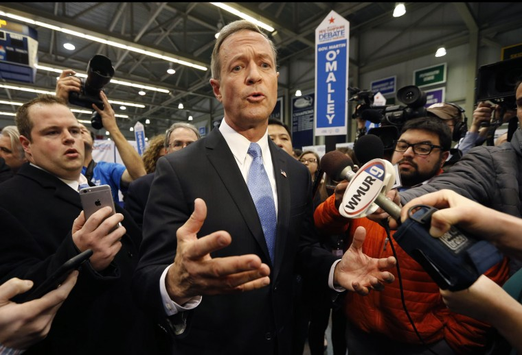 Martin O'Malley speaks in the spin room after a Democratic presidential primary debate Saturday, Dec. 19, 2015, at Saint Anselm College in Manchester, N.H. (AP Photo/Michael Dwyer)