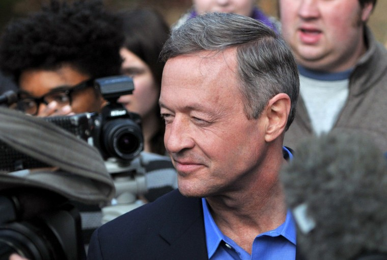 "Democratic Presidential Candidate Martin O'Malley speaks the media at a ""get out the vote"" event, at a private residence on January 31, 2016 in Johnston, Iowa. O'Malley and other candidates are making their final appeals to voters ahead of the Iowa caucus February 1. (Steve Pope/Getty Images)"