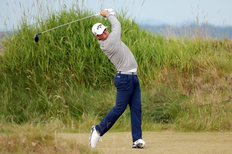 Gary Woodland hits his tee shot on the 11th hole during the first round of the 115th U.S. Open Championship at Chambers Bay on June 18, 2015 in University Place, Washington. (Photo by Mike Ehrmann/Getty Images)