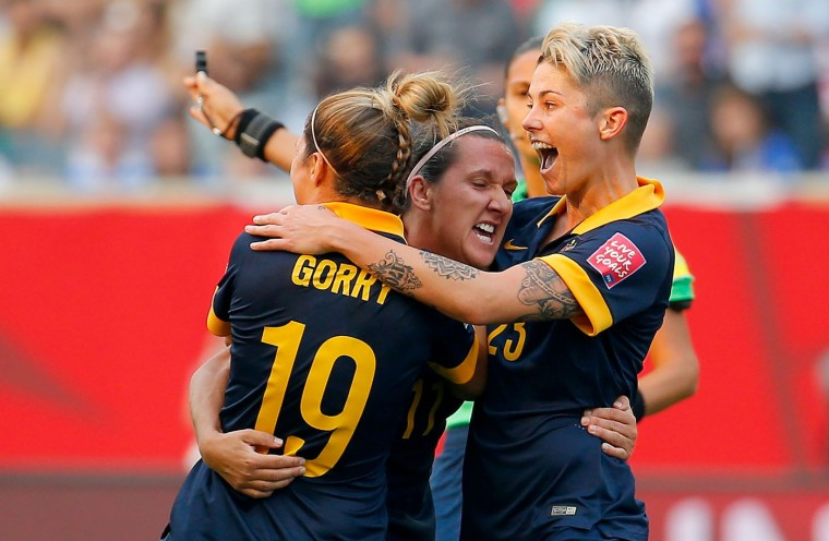 Lisa De Vanna #11 of Australia celebrates her first half goal with teammates against the United States during the FIFA Women's World Cup 2015 Group D match at Winnipeg Stadium on June 8, 2015 in Winnipeg, Canada. (Kevin C. Cox/Getty Images)