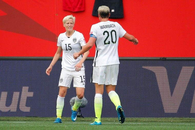 Megan Rapinoe #15 celebrates with Abby Wambach #20 of United States after Rapinoe scores her second goal against Australia in the second half during the FIFA Women's World Cup 2015 Group D match at Winnipeg Stadium on June 8, 2015 in Winnipeg, Canada. (Kevin C. Cox/Getty Images)