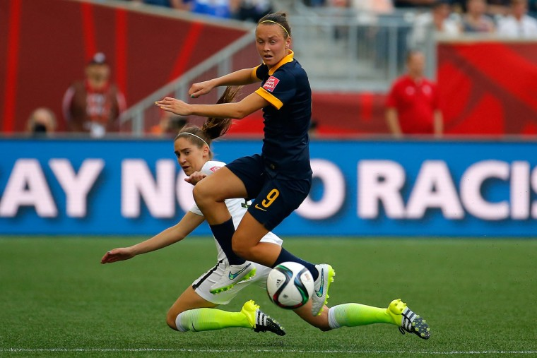 Caitlin Foord #9 of Australia is called for a foul against Morgan Brian #14 of United States in the second half during the FIFA Women's World Cup 2015 Group D match at Winnipeg Stadium on June 8, 2015 in Winnipeg, Canada. (Kevin C. Cox/Getty Images)