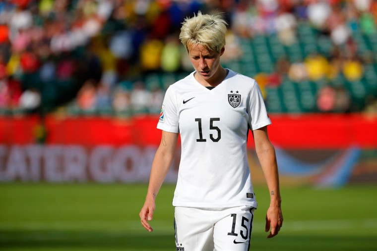 Megan Rapinoe #15 of the United States reacts in the first half while taking on Colombia in the FIFA Women's World Cup 2015 Round of 16 match at Commonwealth Stadium on June 22, 2015 in Edmonton, Canada. (Kevin C. Cox/Getty Images)