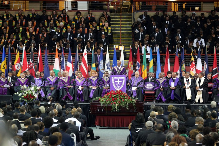 Rev. John Bryant speaks at the funeral service for Sen. Clementa Pinckney at the College Charleston TD Arena for South Carolina State Sen. Clementa Pinckney who was killed during the mass shooting at the Emanuel African Methodist Episcopal Church along with eight others on June 26, 2015 in Charleston, South Carolina. Suspected shooter Dylann Roof, 21 years old, is accused of killing nine people on June 17th during a prayer meeting in the church, which is one of the nation's oldest black churches in Charleston. (Photo by Grace Beahm-Pool/Getty Images)