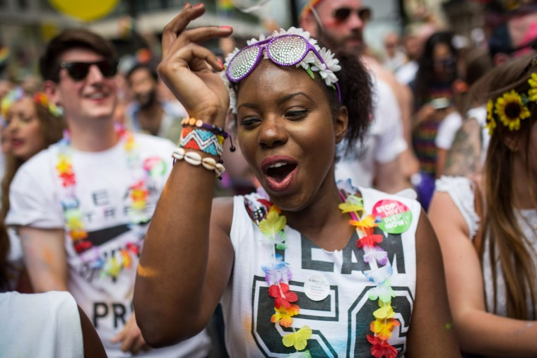 People take part in the annual Pride in London Parade on June 27, 2015 in London, England. Pride in London is one of the world's biggest LGBT+ celebrations as thousands of people take part in a parade and attend performances at various locations across the city. (Rob Stothard/Getty Images)