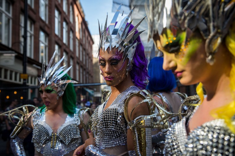Cabaret artists prepare to take part in Pride in London event on June 27, 2015 in London, England. Pride in London is one of the world's biggest LGBT+ celebrations as thousands of people take part in a parade and attend performances at various locations across the city. (Rob Stothard/Getty Images)