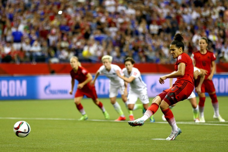Celia Sasic #13 of Germany misses a penalty kick against the United States in the second half in the FIFA Women's World Cup 2015 Semi-Final Match at Olympic Stadium on June 30, 2015 in Montreal, Canada. (Elsa/Getty Images)