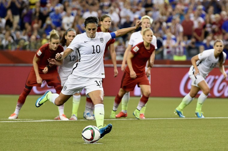 Carli Lloyd of Germany scores the opening goal from a penalty in the FIFA Women's World Cup 2015 Semi-Final Match at Olympic Stadium on June 30, 2015 in Montreal, Canada. (Dennis Grombkowski/Bongarts/Getty Images)
