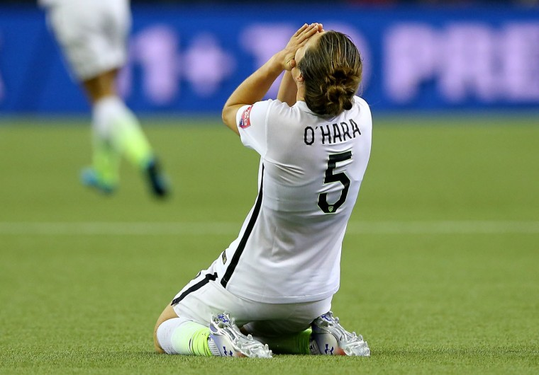 Kelley O'Hara #5 of the United States after USA defeats Germany 2-0 in the FIFA Women's World Cup 2015 Semi-Final Match at Olympic Stadium on June 30, 2015 in Montreal, Canada. (Elsa/Getty Images)