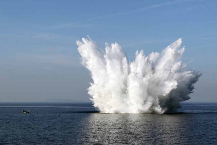 A World War II-era bomb of the US air force is detonated by the crew of French minesweeper Orion in Bastia. (Pascal Pochard-Casabianca/Getty Images)