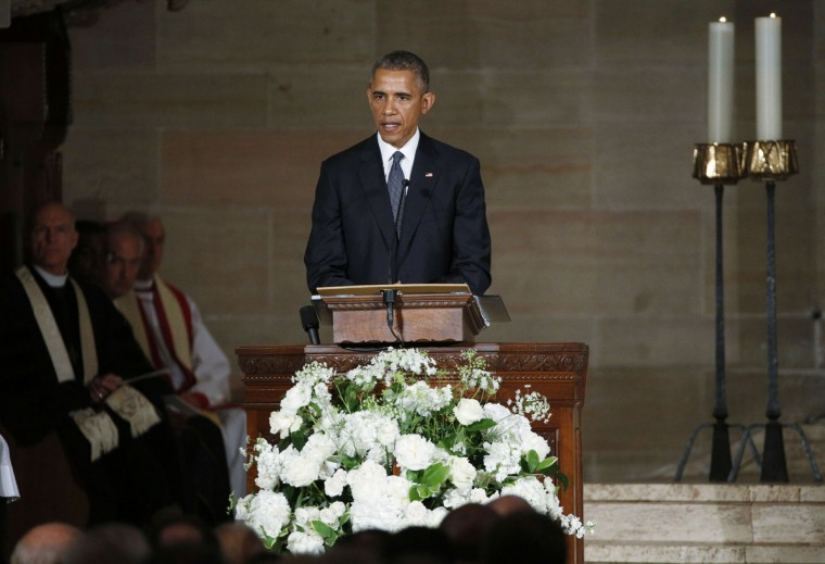 US President Barack Obama delivers the eulogy in honor of former Delaware Attorney General Beau Biden, son of US Vice President Joe Biden, at St. Anthony of Padua Church in Wilmington, Delaware, on June 6, 2015. (Kevin Lamarque/AFP/Getty Images)