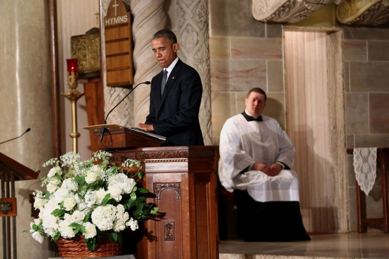 US President Barack Obama delivers the eulogy in honor of former Delaware Attorney General Beau Biden, son of US Vice President Joe Biden, at St. Anthony of Padua Church in Wilmington, Delaware, on June 6, 2015. (Doug Mills/AFP/Getty Images)
