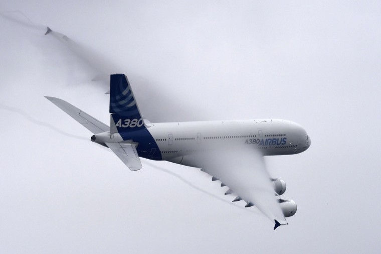 An Airbus A380 airplane performs at the International Paris Airshow in Le Bourget on June 18, 2015. The airshow will be open to the general public from June 19 to 21. (MIGUEL MEDINA/AFP/Getty Images)