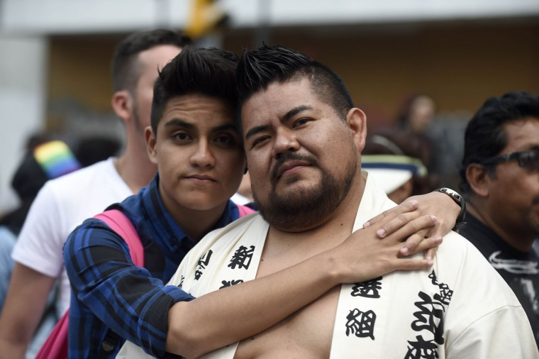 Revelers take part in the Gay Pride Parade at Juarez Avenue in Mexico City, on June 27, 2015. (Alfredo Estrella/AFP/Getty Images)